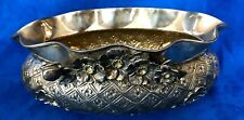 "1960s Traditional Melda"" Shells and Flowers 900 Silver Repousse Oval Bowl"