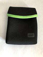 WD Genuine My Passport soft pouch Neoprene case (Black with Green Trim)  EUC
