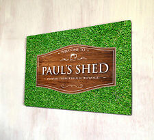 Personalised Shed Wood effect Outdoor allotment sign A4 metal Sign