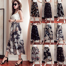 █ █ Summer Floral Womens Chiffon Wide Leg High Waist Loose Crop Pants Trousers