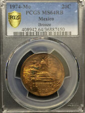 1974-Mo Mexico Teotihuacán 20¢ PCGS MS64RB Unique Toning