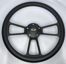 "14"" Black Billet Steering Wheel (Black Half Wrap and Chevy Horn Button)"