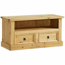 Solid Pine Light Wax Finish TV Table Stand Cabinet Media Unit