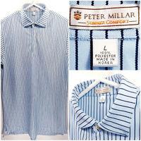 Peter Millar Summer Comfort Mens Large Golf Polo Blue Striped