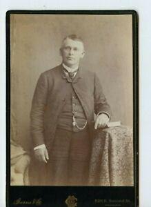 Vintage Armoire Carte Savante Looking Homme Montre Chaîne Philadelphia Pa