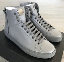 600$ MCM Light Gray High Tops Leather Sneakers size US 13 Made in Italy