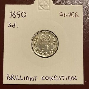 1890 Queen Victoria Silver Threepence Uncirculated UNC