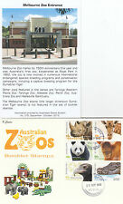 """2012 Australian Zoos set 6 booklet stamps on limited edition """"K"""" Covers FDC"""