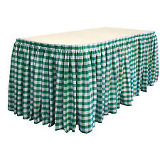 """LA Linen Checkered Table Skirt 21-Ft L by 29""""H with 15 L-Clips. Made in USA"""