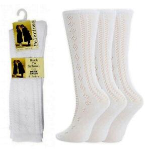 1 2 3 6 Pairs Girls Cotton Rich Pelerine Socks 3/4 Long Knee High School Uniform