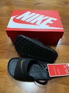 New Nike Kids Kawa Slide (Infant/Toddler) Sandals Black/Metallic Gold 5c - 10c