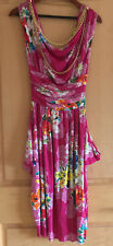 NWT D&G Dolce & Gabbana Pink Floral Draped Gold Chain Corset Dress Size 38