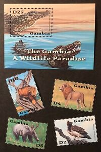 GAMBIA WILDLIFE S/S + STAMP SET 2002 MNH WILD ANIMALS LION CROCODILE EAGLE BIRD