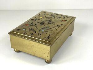 Vintage German Dralle Art Deco Trinket box Brass With Enamel Detail