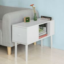 SoBuy L75 Cm White Wood Side End Table With Drawer & Storage Space Fbt60-w UK