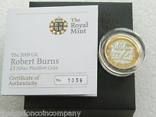 2009 Robert Burns PIEDFORT £ 2 Due Pound Argento Proof MEDAGLIA BOX COA