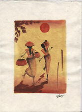 Original Ink, Oil, Gold and Water Color Painting from Luang Prabang, Laos   LP55