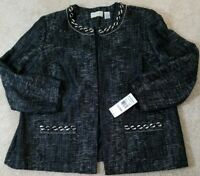 Alfred Dunner Woman~Size 22W~Black/White Jacket Blazer  Office Wear NWT $80.00
