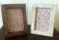 WOODEN PHOTO FRAME SINGLE PORTRAIT DARK OR WHITE WASH STYLE CHIC & SHABBY