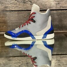 $650 Maison Martin Margiela Blue & Grey Mesh High-Top Panelled Sneakers