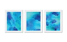 3 x Addison WaterColour Framed Prints Poster Home Decor Art A3 Blue Aqua