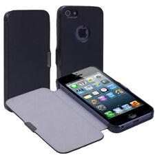 Black Folio PU Leather Hard Case Cover For Apple iPhone 5 5G 5th Gen