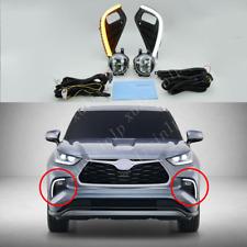 For 2020-2021 Toyota Highlander LED Front Fog Light w/ LED Turn Signal/ DRL Kit