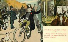 Artist Impression Husband Training Bicycle C-1910 Postcard Comic Valentine 11841