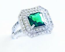 USA RING using Swarovski Crystal Silver Sizable 18K Gold plated Green