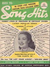 Song Hits Lyric Magazine March 1942 Dorothy Lamour VG 041316DBE