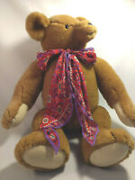 """1987 Teddy Bear Plush Jointed Smithsonian Institution 24"""" Stuffed Animal Bow"""