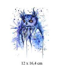 Bügelbild Blaue Eule  Hotfix Applikation für Ihre Textilien 12 x 16,4 cm