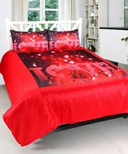 Valentine Lovers- Love Roses 3D-Print Satin Double bedsheet & 2 Pillow Covers