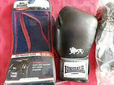LONSDALE LONDON  BLACK PUNCH HEAVY BAG PRO TRAINING BOXING GLOVES MITTS 14oz