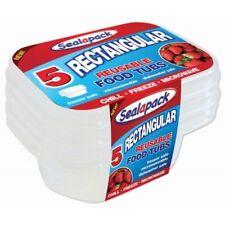 Sealapack 5 Rectangular Reusable Food Tubs - Freezer Microwave Dishwasher Safe