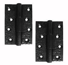 """Un par de 3"""" X 2"""" Trasero Bisagras en rústica negro de hierro fundido (JAB103)"""