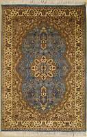 Rugstc 4x6 Senneh Pak Persian Blue Area Rug, Hand-Knotted,Floral with Silk/Wool