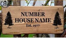 Rustic House Gate Sign Plaque Door Number Personalised Name Plate Log Cabin Tree