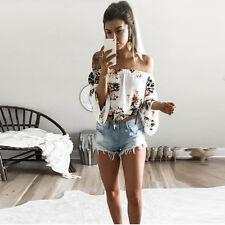 UK Women Off Shoulder Floral Ladies Holiday Summer Tops T-Shirt Blouse Crop