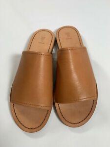Womens FRYE Camel Leather Robin Slides NEW! NIB