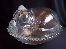 Indiana glass vintage sleeping kitten on nest candy dish basket cat kitty 7x5