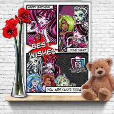 Extra Large Monster High Poupées ** Personnalisé A4 Carte d'anniversaire ** fille Fille