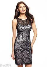 Sz 6 * SUE WONG 1920's ILLUSION Cocktail Dress GATSBY  Black Platinum $518