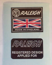 "Raleigh Chopper,Grifter, etc ""TI RALEIGH MADE IN ENGLAND+ REG DESIGN"" Stickers"