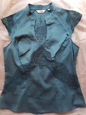 NEXT LADIES BLOUSE TOP LACE EMBROIDERED SATIN SIZE 14 TEAL COLOUR SIDE ZIP