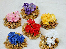 """1"""" tall MINI Foreground & BETTA Artificial Silk Assorted FLOWERS w/ stone base"""