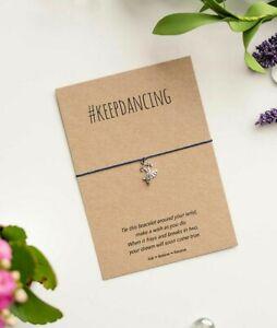 Keep Dancing wish bracelet, #keepdancing String Bracelet, Gift card for a dancer