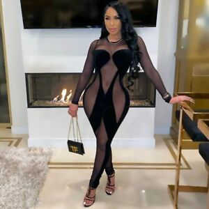 Jumpsuit Women One Piece Party Clubwear Outfits Velvet Mesh See Through Bodycon