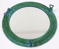"""20"""" Porthole Mirror Aluminum Green Finish ~ Ship Porthole Mirror ~Nautical Decor"""