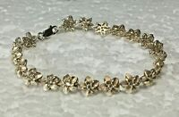 "Vtg Solid Sterling Silver Micro Flower 7.5 in. "" white stone Bracelet 925 Petite"